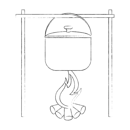Steel cooking pot icon vector illustration graphic design Illustration