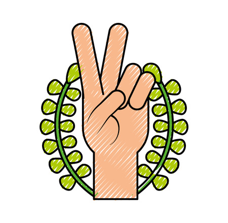 Hand making peace and love with wreath vector illustration design 向量圖像