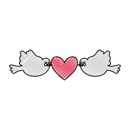 Cute doves flying with heart vector illustration design Çizim