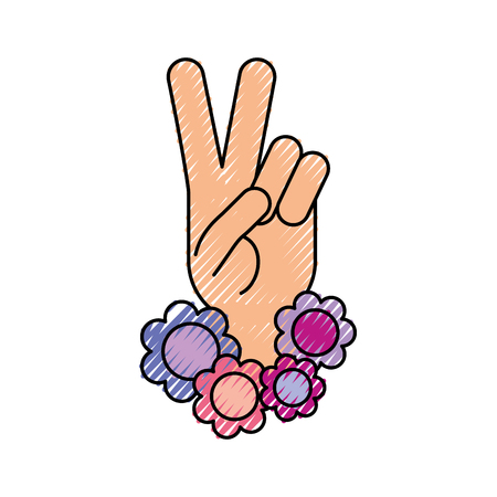 Hand making peace and love with flowers vector illustration design 向量圖像