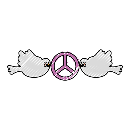doves flying with peace symbol isolated icon vector illustration design