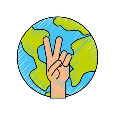 Hand making peace and love with world vector illustration design