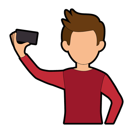 Man with smartphone icon vector illustration graphic design