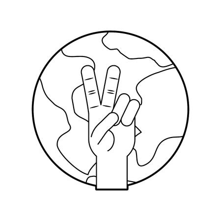 世界と手を平和と愛のベクトル イラスト デザイン  イラスト・ベクター素材