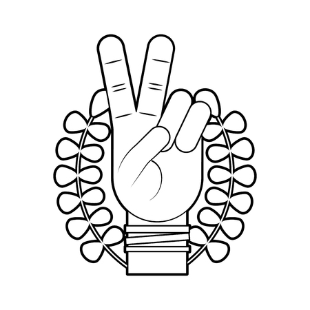 Hand making peace and love with wreath vector illustration design Ilustração