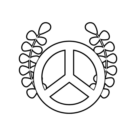 pacificist: Peace symbol with wreath vector illustration design Illustration
