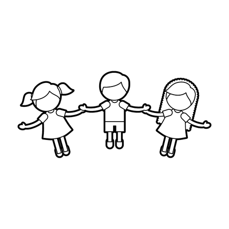 Enfants tenant des mains caractères vector illustration design Banque d'images - 84668499