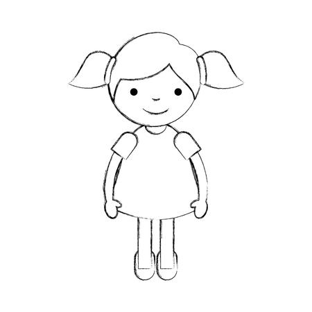 Niedliches kleines Mädchen Zeichen Vektor-Illustration Design Standard-Bild - 84668716
