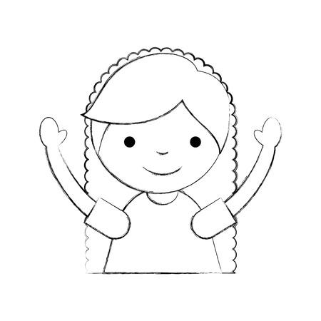 Niedliches kleines Mädchen Zeichen Vektor-Illustration Design Standard-Bild - 84670498