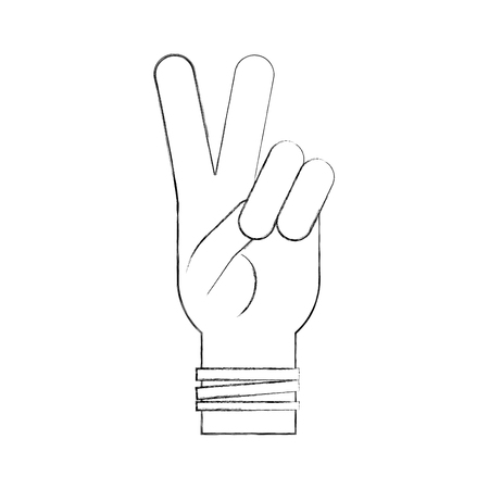 Hand making peace and love vector illustration design Ilustração