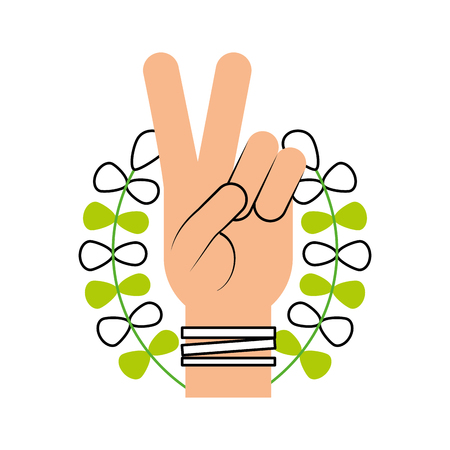 Hand making peace and love with wreath vector illustration design.