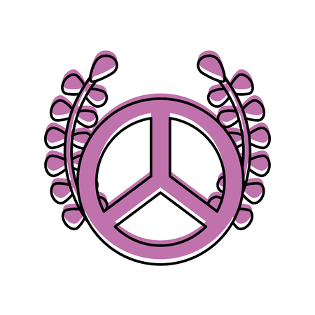 peace symbol with wreath vector illustration design