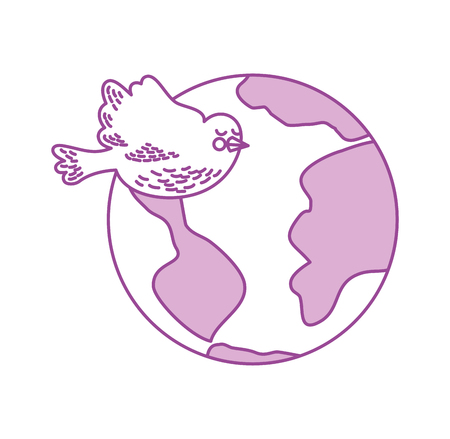 flat earth: world planet with doves flying vector illustration design