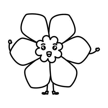 cute flower spa kawaii character vector illustration design Çizim