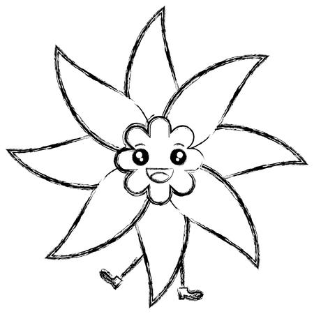 귀여운 꽃 스파 문자 벡터 일러스트 디자인