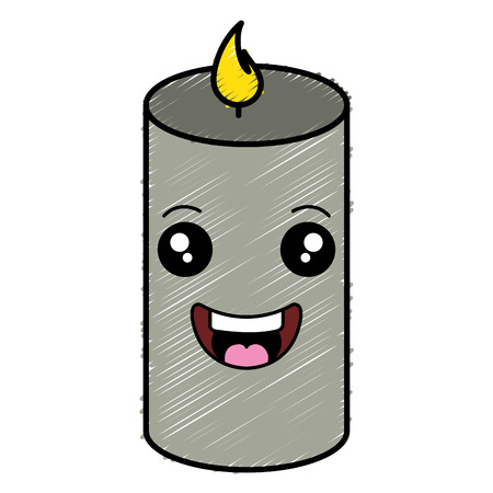 Spa candle in a kawaii character. vector illustration design