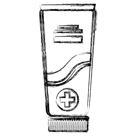 Medical tube or glass with sign of a cross inside.