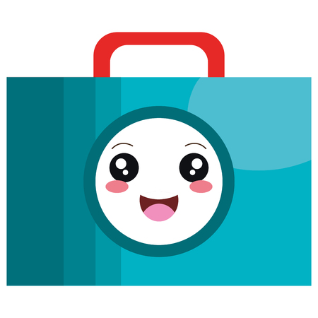 Medical kit kawaii character vector illustration design