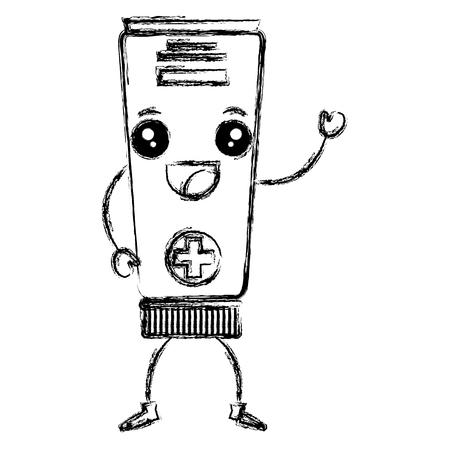 튜브 의료 약물 카와이 문자 벡터 일러스트 레이션 디자인