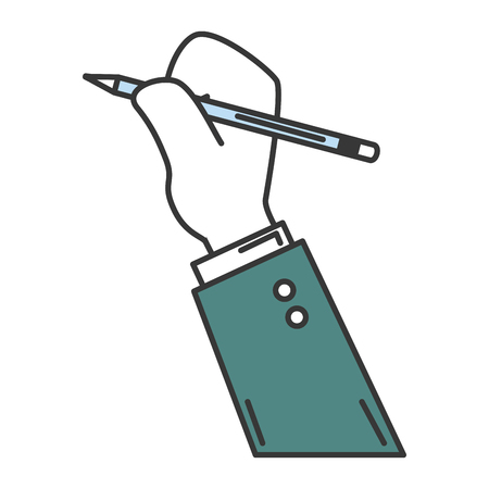 writing instruments: hand human with pencil write isolated icon vector illustration design Illustration
