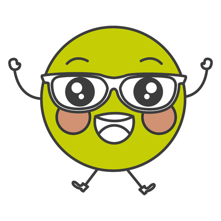 ball point: happy with glasses emoticon face character icon vector illustration design