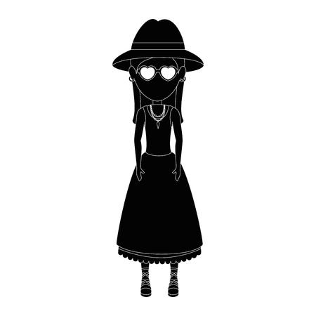 Mujer con gafas y sombrero icono sobre fondo blanco hippie ilustración vectorial concepto de estilo Foto de archivo - 84679903