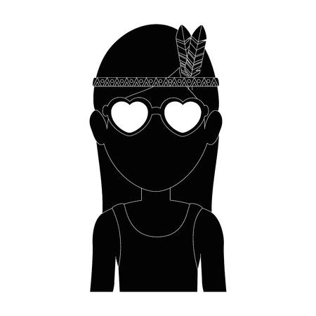 man met bril pictogram over witte achtergrond hippie stijl concept vectorillustratie Stock Illustratie