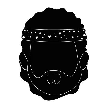 man met hippie stijlicoon over witte achtergrond vectorillustratie
