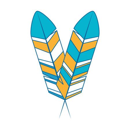 Icône de plumes colorées sur illustration vectorielle fond blanc Banque d'images - 84682899