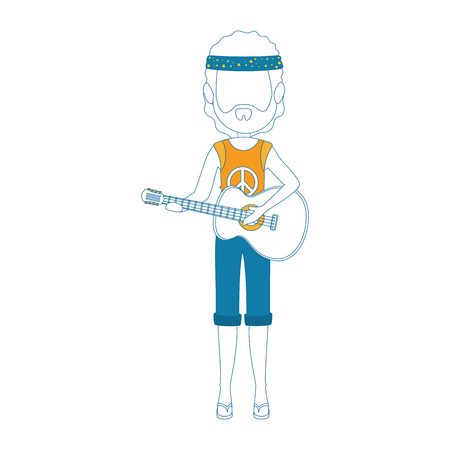 man playing a guitar icon hippie style concept over white background vector illustration Illustration