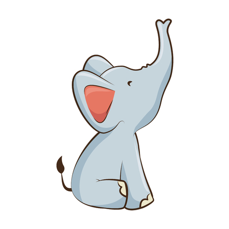 cartoon elephant animal icon over white background vector illustration