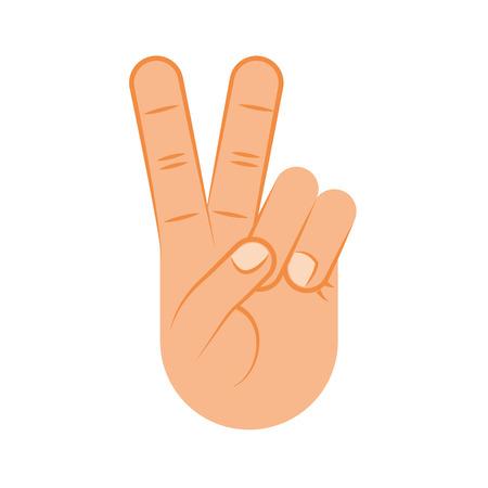 Hand making peace and love vector illustration design Çizim