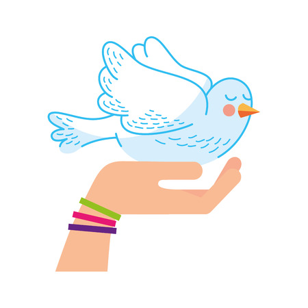 hand human with cute dove vector illustration design
