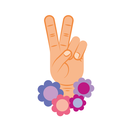 Hand making peace and love with flowers vector illustration design Ilustração