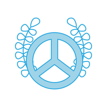 pacificist: peace symbol with wreath vector illustration design