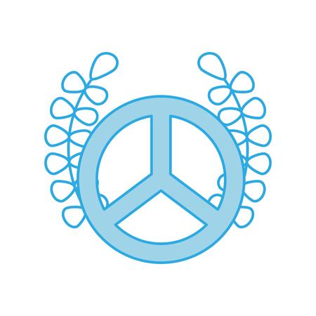 peace symbol with wreath vector illustration design