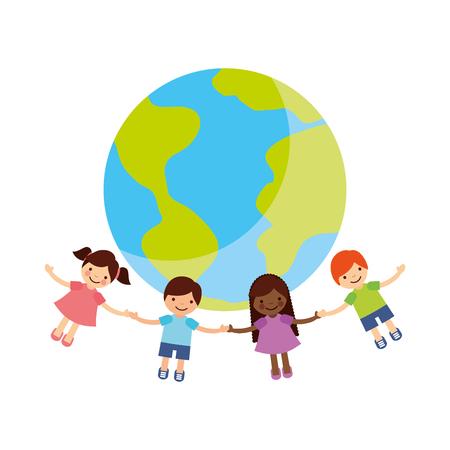 Children holding hands around the world vector illustration design