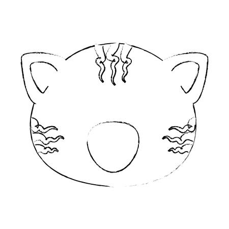 흰색 배경 벡터 일러스트 레이 션 위에 만화 호랑이 동물 아이콘
