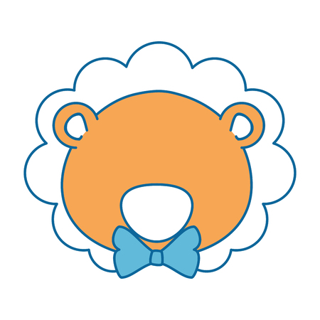 cartoon lion with bow tie icon over white background vector illustration