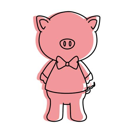 만화 돼지 흰색 배경 위에 동물 아이콘 화려한 디자인 벡터 일러스트 레이 션