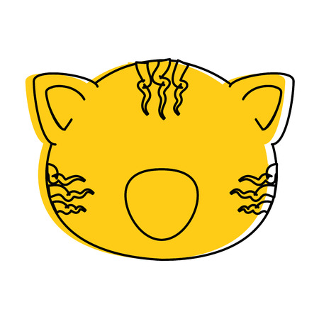cartoon tiger animal icon over white background vector illustration 向量圖像