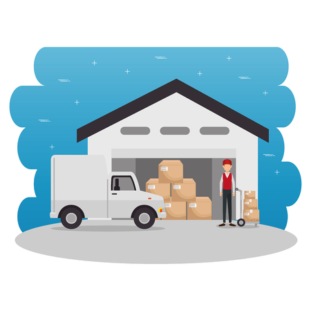 Truck and boxes of Logistic transportation and delivery theme Vector illustration Stock Vector - 84708788