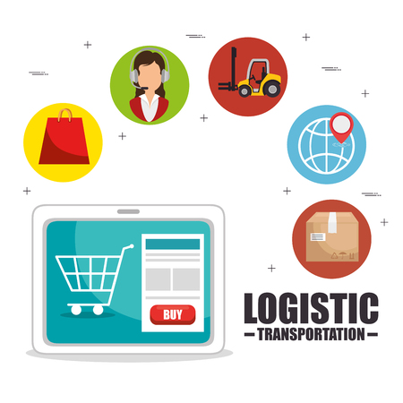 Icon set of Logistic transportation and delivery theme Vector illustration Illustration
