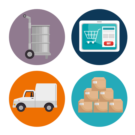 Icon set of Logistic transportation and delivery theme Vector illustration Stock Vector - 84708791