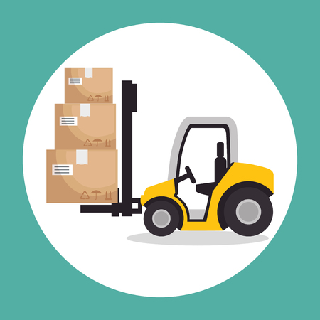 Forklift and boxes of Logistic transportation and delivery theme Vector illustration Illustration