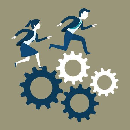 Woman and man of Business management and workforce theme Vector illustration