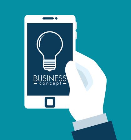 Smartphone van bedrijfsbeheer en personeelsthema vectorillustratie