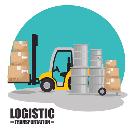 Forklift and boxes of Logistic transportation and delivery theme Vector illustration Çizim