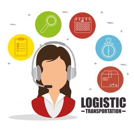Woman and icon set of Logistic transportation and delivery theme Vector illustration