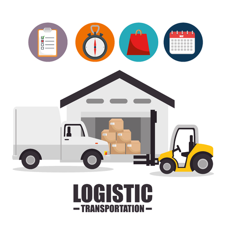 Truck and boxes of Logistic transportation and delivery theme Vector illustration Illustration